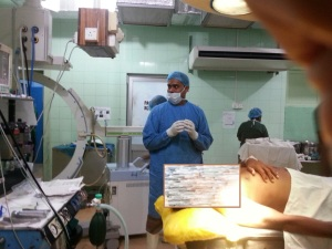 A pre intern doctor is preparing to do a Lumbar puncture